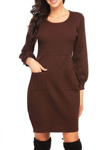 1a8cf69a3ec Dearlove Women s Long Sleeve Crew Neck Slim Fit Cable Knit Pullover Sweater  Dresses Work Bodycon Pencil Midi Dress Knee Length Solid Brown S 4 6