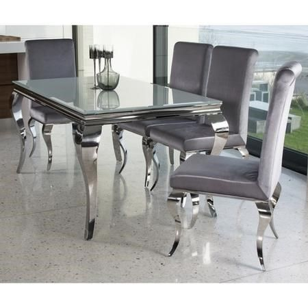Louis Mirrored Dining Set With White 160cm Table 4 Silver Velvet