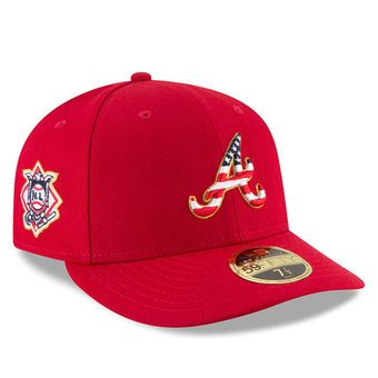 Men S Atlanta Braves New Era Red 2018 Stars Stripes 4th Of July On Field Low Profile 59fifty Fitted Hat Atlanta Braves Hats Fitted Hats