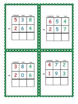 Montessori Three Digit Dynamic Subtraction Cards Kindergarten Subtraction Worksheets Montessori Activities Montessori Materials