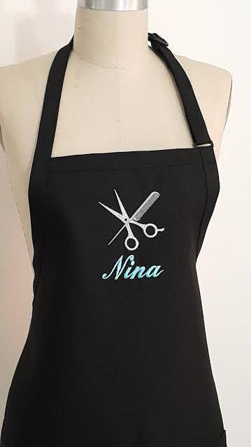 Hairstylist Personalized Apron - Black apron with Teal and Silver Embroidery -Business Logo Apron - Mother's day Gift .