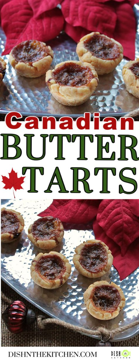 Canadian Christmas magic begins with traditional Butter Tarts. Flaky pastry, sweet buttery filling and a surprise inside. Are you team raisin or team currant? #Buttertarts #tarts #Christmasbaking