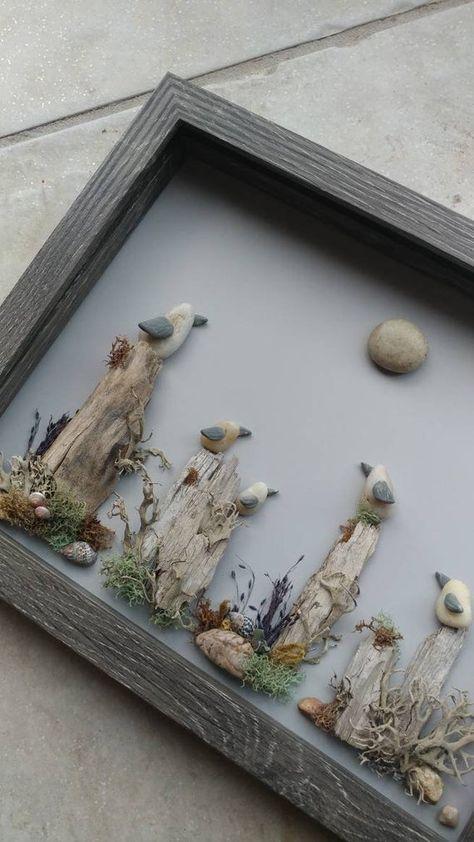 Sea Glass Crafts, Sea Glass Art, Seashell Crafts, Beach Crafts, Broken Glass Art, Stone Pictures Pebble Art, Stone Art, Driftwood Projects, Driftwood Art