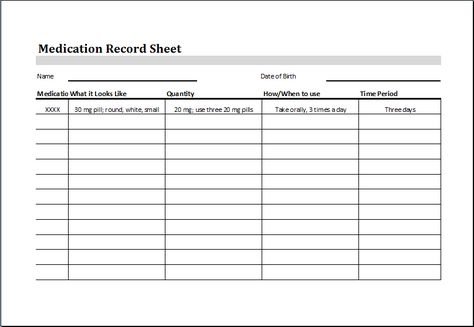 Medication Record Sheet DOWNLOAD at http\/\/wwwwordexceltemplates - biweekly timesheet template