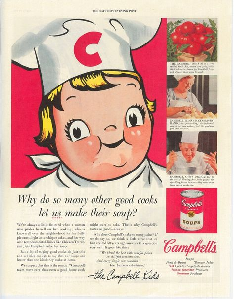 CAMPBELL'S SOUP KIDS Ad | 1955 | Old Vintage Advertisement | Tomato Soup | Gift Idea for Cooks | Kitchen Wall Decor | Free Shipping Included