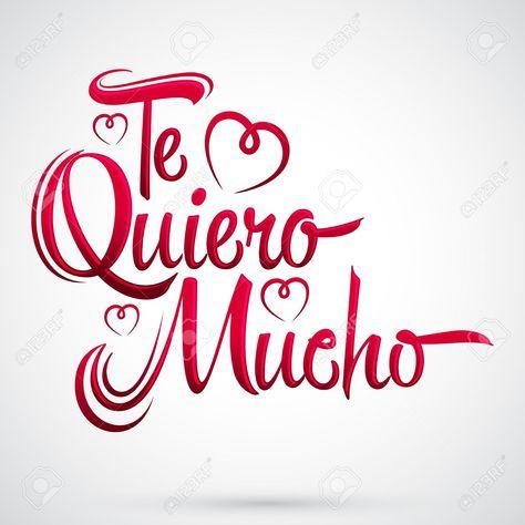 Foto de archivo - Te Quiero Mucho - Yo te amo tanto el texto español,  letras diseño vectorial