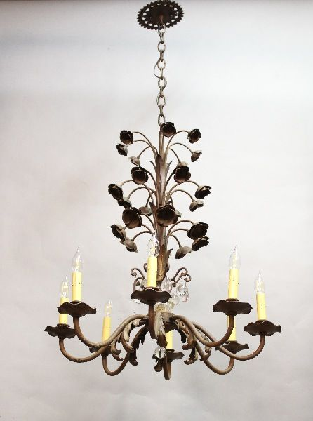 Impressive 1920 S Spanish Revival Wrought Iron Chandelier With