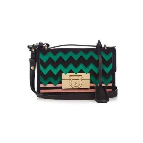 Salvatore Ferragamo Aileen small leather and suede cross-body bag ( 1,591)  ❤ liked 60228e79a8