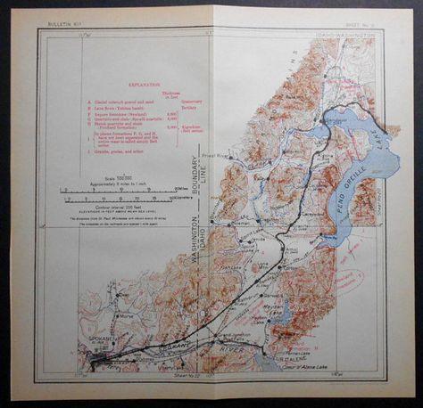 1915 Railroad Map Spokane Washington Wa Kootenai Athol Oden Pend