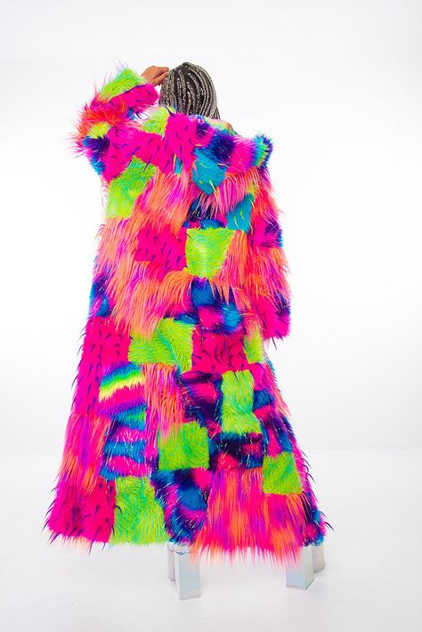 Custom design your own Epic Patchwork Rainbow Festival Coat i hope the fur is fake