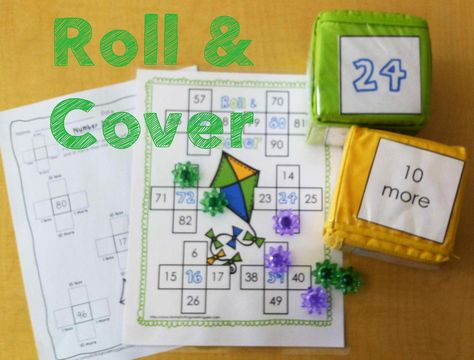 Spring Math Centers- roll and cover