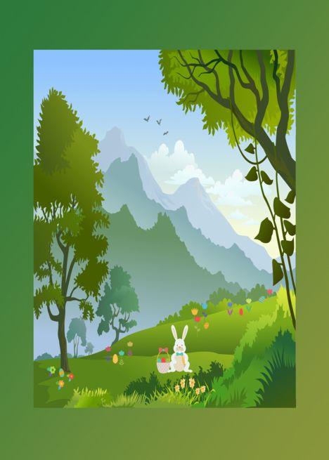 Easter Bunny In The Forest Hidding Eggs For An Easter Egg Hunt Card Landscape Illustration Landscape Background Landscape Trees