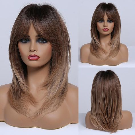 Dark Brown Root Ombre Golden Synthetic Wig Natural Hair for Women Female Layered Wig with Said Bangs Heat Resistant Wig - LC242-5 / United Kingdom