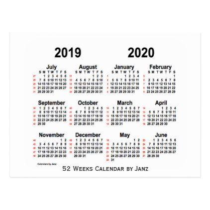 2019 2020 White 52 Weeks Calendar By Janz Postcard Zazzle Com