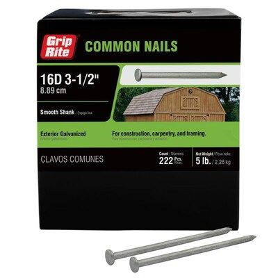 Grip Rite 3 1 2 In 8 Gauge Hot Dipped Galvanized Steel Common Nails 5 Lbs Lowes Com In 2020 Galvanized Steel Galvanized Hot Dip