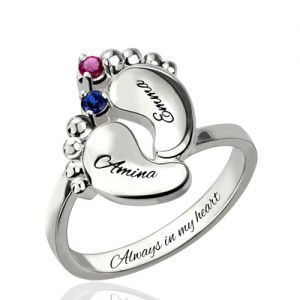 KIKISHOPQ Personalized Baby Feet Ring Silver Engrave Name/&Date Ring Cute Baby Footprint Mom Gift Mothers Ring