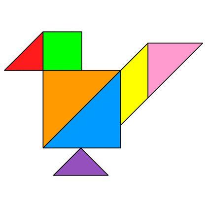 Картинки с изображением птицы составленной с помощью треугольников и четырехугольников