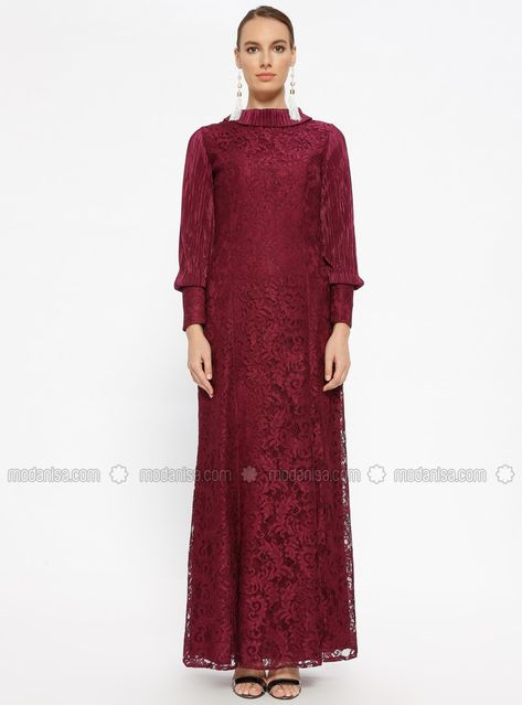 ab60a32ef31 Purple - Fully Lined - Polo neck - Muslim Evening Dress - Butik Neşe ...