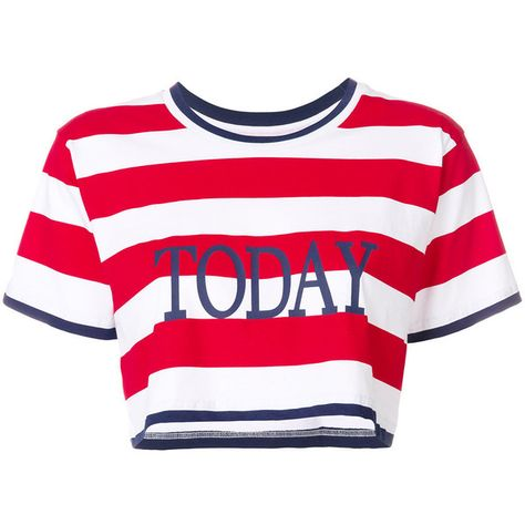 52f59a771bf Alberta Ferretti Today striped T-shirt featuring polyvore women's fashion  clothing tops t-shirts red crop tee rainbow striped top cotton t shirts  rainbow ...
