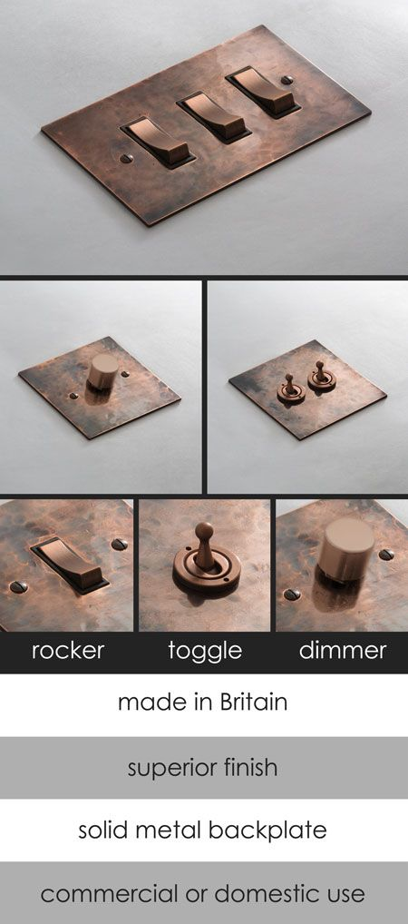 Distressed Copper Light Switches with Rockers, Toggles & Dimmers