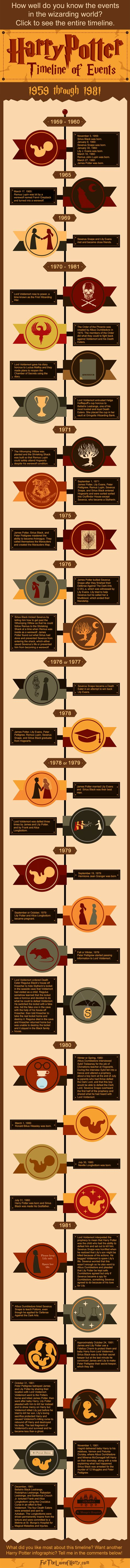This Harry Potter infographic details events that happened in the