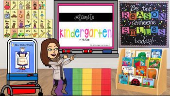 Create Your Virtual Classroom Using Your Own Bitmoji And Clipart This File Comes With All The Book Virtual Classrooms Classroom Images Kindergarten Technology