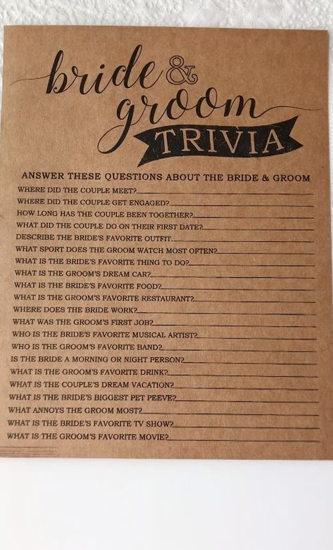 This game is a great bridal shower game or wedding shower game for your next event! See how well you know the couple with this bride and groom trivia game.