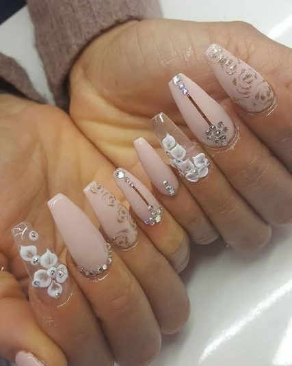 New Nails Acrylic Rhinestones Flower Ideas