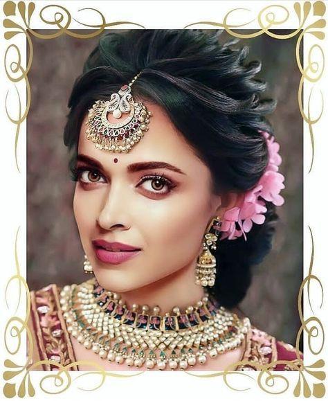 28 Super Ideas Wedding Hairstyles Indian Deepika Padukone Indian Bridal Hairstyles Indian Hairstyles Indian Wedding Makeup