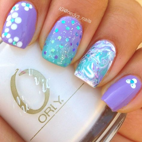 Mix and match nails. Ombré glitter placement and dry by NedysNails, $7.99