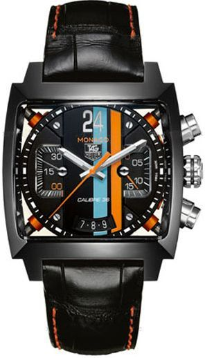 CAL5110.FC6265 NEW TAG HEUER MONACO 24 MENS WATCH    Usually ships within 8 weeks  - FREE Overnight Shipping - NO SALES TAX (Outside California)- WITH MANUFACTURER SERIAL NUMBERS - LIMITED EDITION - Black with Blue and Orange Dial- Chronograph Feature - Self Winding Automatic Movement- Calibre 36, Swiss Made - Sapphire Crystal Exhibition Back Case - 3 Year Warranty- Guaranteed Authentic- Certificate of Authenticity-
