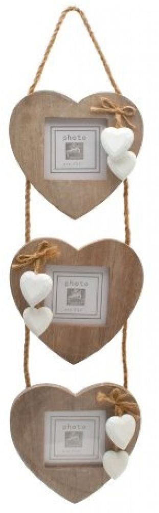 Chic and Shabby Triple Wooden Hanging Heart Photo Frame
