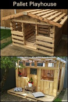 Do your children want a play house? Do one with reclaimed pallets . - Do your children want a play house? Do one with reclaimed pallets! Pallet Crafts, Diy Pallet Projects, Pallet Ideas, Garden Projects, Outdoor Projects, Pallet Playhouse, Pallet Patio, Garden Pallet, Pallet Barn