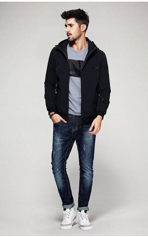 Clothing Length: Regular Style: Fashion Collar: Turn-down Collar Pattern Type: Solid Cuff Style: Conventional Closure Type: Zipper Lining Material: Polyester Thickness: Standard Type: Slim Hooded: Yes Sleeve Style: Regular Decoration: Pockets Model N