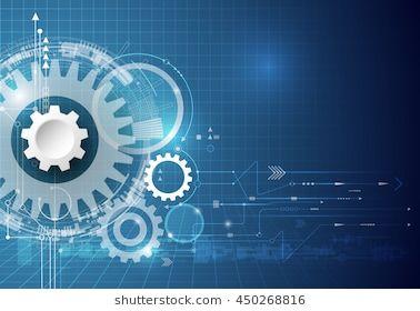 Vector Technology Background Illustration Gear Wheel Hexagons