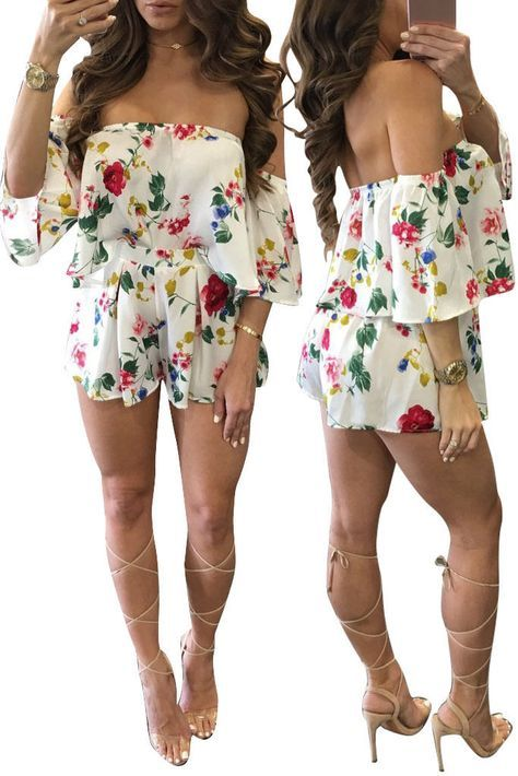 5ed7f8929 Women Off-Shoulder Crop Tops Short Pants Floral Jumpsuit Romper Summer 2Pcs