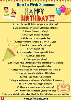 Birthday Wishes 40 Best Happy Birthday Wishes To Friends Others Esl Forums In 2020 Learn English Words Learn English Happy Birthday Fun