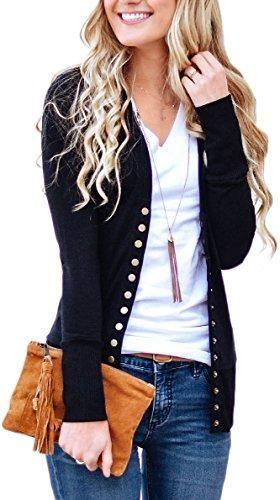Women's V-Neck Button Down Knitwear Long Sleeve Soft Basic Knit Snap Cardigan Sweater - X-Small / Black