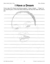 """Dr. King's """"I Have a Dream"""" speech writing activity (Grades 5-8) http://www.teachervision.fen.com/african-american-history/printable/45976.html #MLK"""