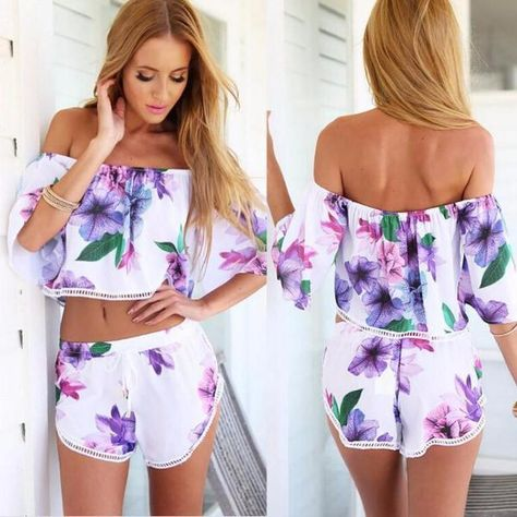 dba138f1f8bed6 Product Description: Buy Women's 2017 Fashion Floral White And Purple  Summer Sexy Off Shoulder Two Piece Crop Top with Shorts Set by PesciModa  Details: ...