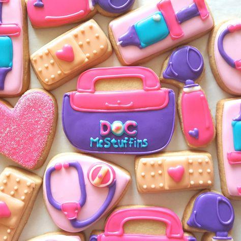 Doc McStuffins Sugar Cookies 1 Dozen by MerciBakery on Etsy Doc Mcstuffins Cookies, Doc Mcstuffins Birthday Cake, Doc Mcstuffins Party Ideas, Frozen Birthday Party, 3rd Birthday Parties, 4th Birthday, Birthday Ideas, Fancy Cookies, Sugar Cookies