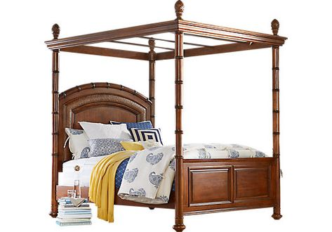 Cindy Crawford Home Key West Tobacco Canopy 4 Pc Queen Bed In 2019