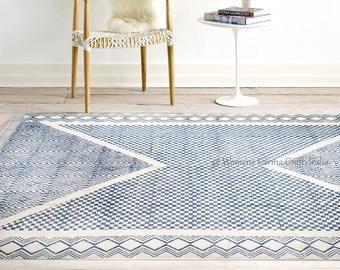 100/% cotton Block Print Boho Colours large rug Home decor Bohemian Printed Cotton Rug Faded look Decor Rug Rug 5x8 ft Rug Handmade