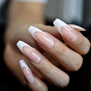 White French Tip Press On Nails Long Coffin Nails Acrylic Nails Fake Nails Faux Nail Set In 2020 Coffin Nails Long White Acrylic Nails Wedding Nail Polish