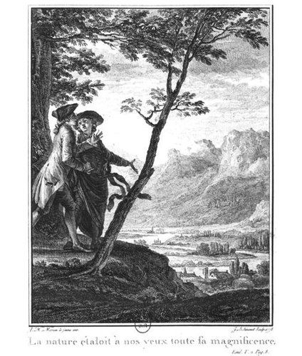 Profession of Faith of The Savoyard Vicar, Illustration from 'L'Emile' by Jean-Jacques Rousseau Engraved by Jean Baptiste Simonet Published in 1778 by