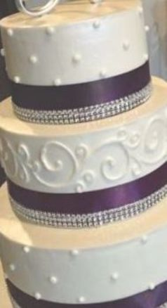 54 New Ideas For Cake Wedding Purple Ribbons Wedding Cake In