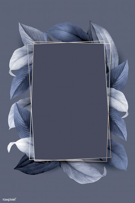 Rectangle foliage frame on bluish  gray  background vector | premium image by rawpixel.com / wan