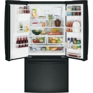 Ge 23 7 Cu Ft French Door Refrigerator In Black Energy Star