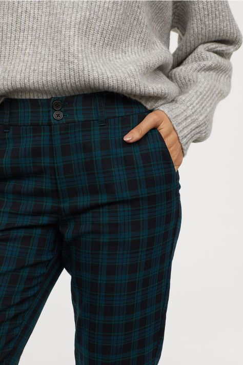 Checked Pants - Dark green/checked - Ladies | H&M US 2