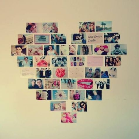 Heart collage-thinking about doing this on one of my walls?